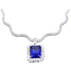18 Karat White Gold Tanzanite and Diamond Collar Necklace