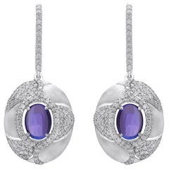 18 Karat White Gold Tanzanite and Diamond Earrings