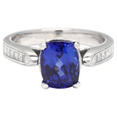 18 Karat White Gold, Tanzanite and Diamond Ring