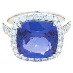 18 Karat White Gold Tanzanite and Diamond Ring