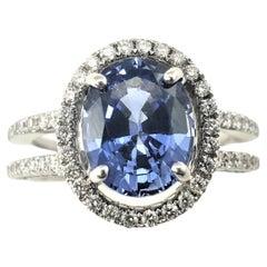 18 Karat White Gold Tanzanite and Diamond Ring GAI Certified