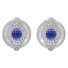 18 Karat White Gold Tanzanite and Diamond Stud Earrings