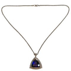 18 Karat White Gold Tanzanite Diamond Pendant