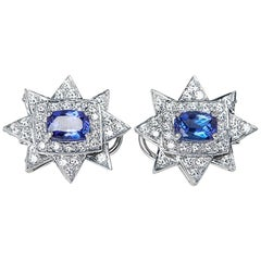 18 Karat White Gold Tanzanite Diamond Star Earrings