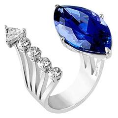 DELFINA DELETTREZ 18 Karat White Gold Tanzanite Ring