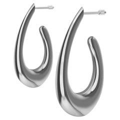 18 Karat White Gold Teardrop Hollow Hoop Earrings