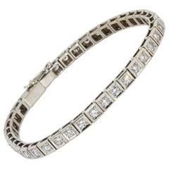 18 Karat White Gold Tennis Bracelet, Set with 38 Round White Diamonds