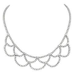 18 Karat White Gold Tennis Loop Necklace