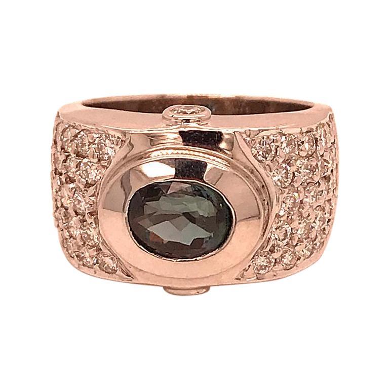 18 Karat White Gold Green Hamilton Thick Pave 2 Carat Diamond Band Ring For Sale