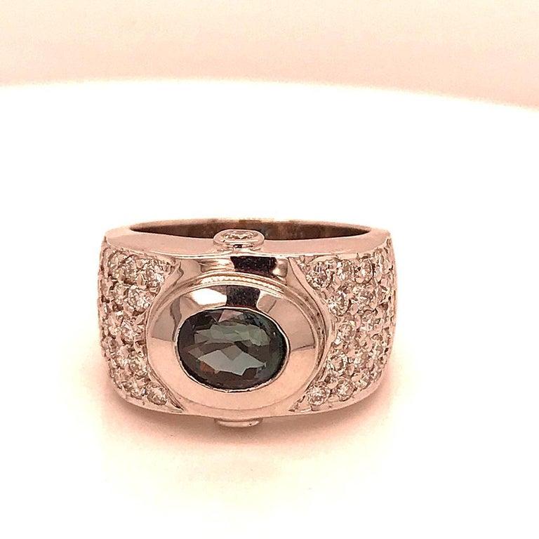 Modernist 18 Karat White Gold Green Hamilton Thick Pave 2 Carat Diamond Band Ring For Sale