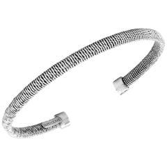 18 Karat White Gold Thin Bangle Bracelet