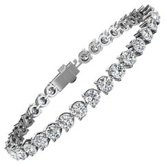 18 Karat White Gold Three Prongs Diamond Tennis Bracelet '10 Carat'