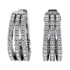 18 Karat White Gold Three-Row Hoop Diamond Earrings '1 Carat'