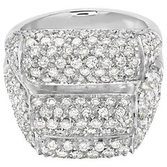 18 Karat White Gold Three-Row Pave Diamond Cocktail Ring