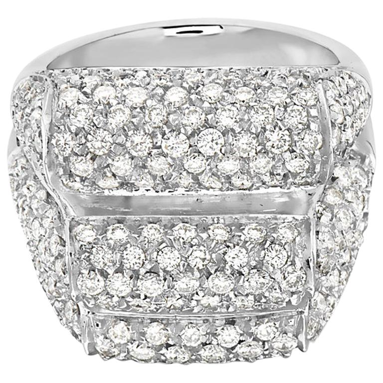 18 Karat White Gold Three-Row Pave Diamond Cocktail Ring For Sale