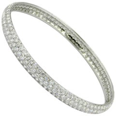 18 Karat White Gold Three Rows of Pavè Diamonds Bracelet