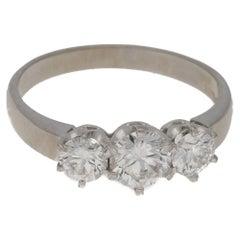 18 Karat White Gold Three-Stone Diamond Ring