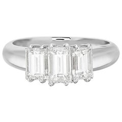 18 Karat White Gold Three-Stone Emerald Cut Diamond Engagement Ring