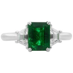 18 Karat White Gold Three-Stone Green Emerald and Diamond Ring 2.02 Carat