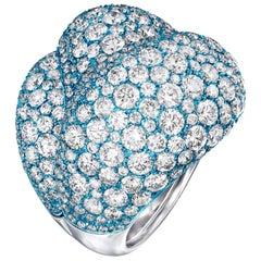 18 Karat White Gold, Titanium and White Diamonds Cocktail Ring