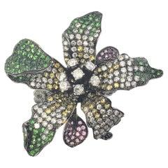 18 Karat White Gold Tourmaline and Diamond Flower Ring GAI Certified