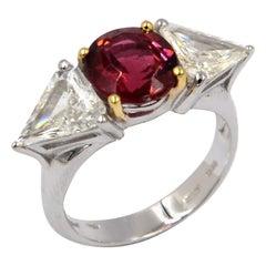 18 Karat White Gold  Tourmaline and White Diamonds Garavelli Modern Trilogy Ring