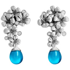 18 Karat White Gold Transformer Cocktail Earrings with 10 Diamonds and Blue Onyx
