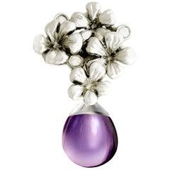18 Karat White Gold Transformer Plum Blossom Pendant Necklace with Diamonds