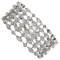 18 Karat White Gold Trellis Diamond Bracelet, 19.25 Carat