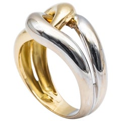 18 Karat White Gold Tresse Ring 18 Karat Yellow Gold