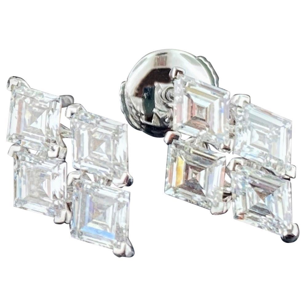 18 Karat White Gold Triangle Cut Diamond Earrings