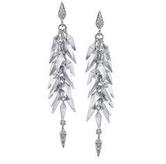 18 Karat White Gold Trickling Stardust Dangle Earrings