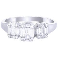 18 Karat White Gold Trio Emerald Illusion Diamond Wedding Ring