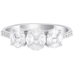 18 Karat White Gold Trio Oval Illusion Diamond Wedding Ring