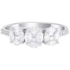 18 Karat White Gold Trio Oval Illusion Diamond Wedding Ring