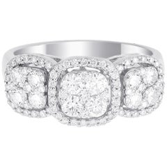 18 Karat White Gold Trio Round Diamond Wedding Ring