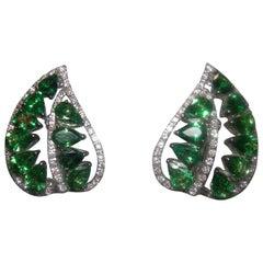 18 Karat White Gold Tsavorite and Diamond Earrings