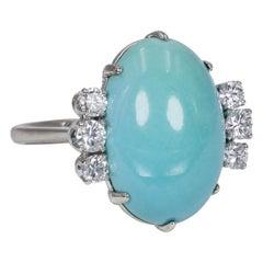 18 Karat White Gold, Turquoise and 0.50 Carat Diamond Ring