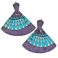 18 Karat White Gold Turquoise and Amethyst Fan Shape Dangle Earrings