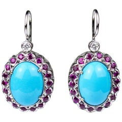18 Karat White Gold Turquoise and Ruby Dangle Earrings