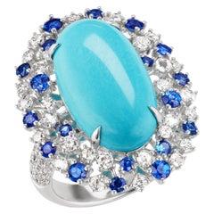 18 Karat White Gold Turquoise, Blue Sapphire and Diamond Ring