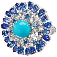18 Karat White Gold Turquoise, Blue Sapphire and Round Diamond Flower Ring