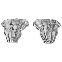 18 Karat White Gold Two Tusk Elephant Stud Earrings