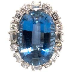 18 Karat White Gold, Upper Extra Fine Aquamarine and Diamond Ring