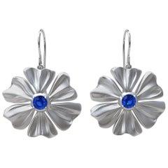 Rhodium White  6 Petal Star Flower with Blue Sapphires