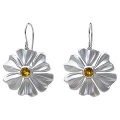 Rhodium White 6 Heart Petals Flower with Yellow Sapphires