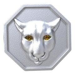 18 Karat White Gold Vermeil Colorado Cougar Signet Ring and Yellow Sapphire Eyes