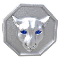 18 Karat White Gold Vermeil Colorado Cougar Signet Ring with Blue Sapphire Eyes