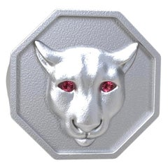 18 Karat White Gold Vermeil Colorado Cougar Signet Ring with Pink Sapphire Eyes