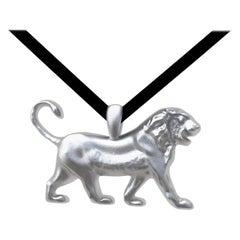 18 Karat White Gold Vermeil Persepolis Lion Pendant Necklace